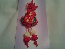 Hecho a mano roja Guacales forma nudo chino, encanto, Colgante con palabras Bordado