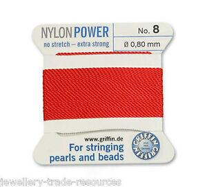 GARNET RED NYLON POWER SILKY THREAD 0.50mm STRINGING PEARLS /& BEADS GRIFFIN 3