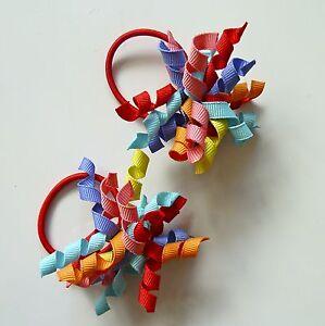 Gymboree-Girls-Hair-Bobble-Hair-Tie-x-2-Blue-Green-Red-Pink-Orange-New