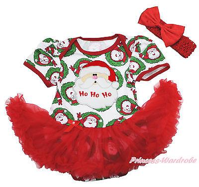 XMAS Santa Print One Piece Bodysuit Red Pettiskirt Girl Baby Dress NB-18Month