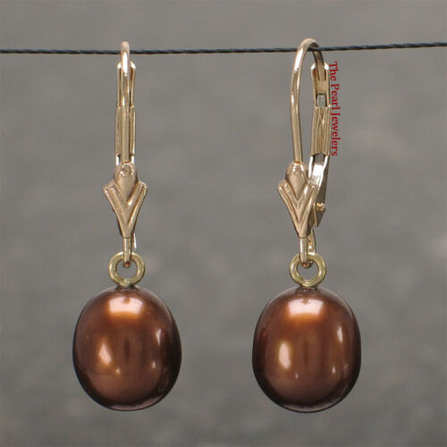 14k Yellow Gold Leverback; Chocolate Color Cultured Pearl Dangle Earrings TPJ