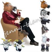 Horse Unicorn Zebra Wolf Head Latex Fur Mask Halloween Party Cosplay Animal Prop