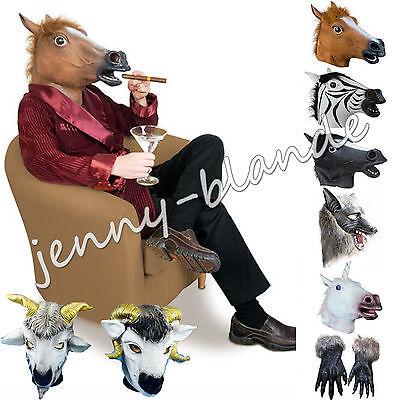 Latex Fur Horse Unicorn Zebra Wolf Goat Head Mask Halloween Cosplay Animal Prop