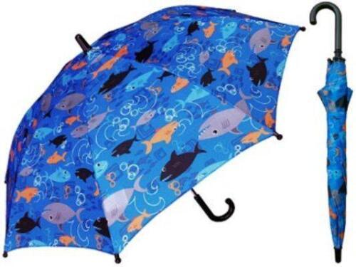 "Kids SHARK Fish Blue Rain Sun Umbrella NEW 34/"" Arc  Manual Open"
