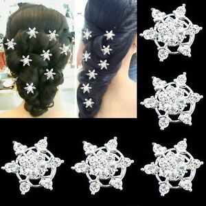 10-Curlies-Haarnadeln-Schneeflocken-klar-Hochzeit-Stras-Tiara-Sterne-Haarschmuck