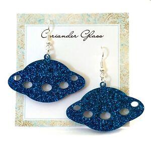 Acrylic-UFO-Earrings-Choose-Colour-Space-Jewellery-Spaceship-Earrings