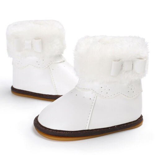 Newborn Infant Baby Girl Warm Snow Boots Soft Sole Leather Fur Booties Prewalker