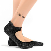 Women's Fashion Silvery Silk Yoga Grip Non Slip Skid Barre Ballet Socks Shoes