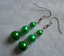 Handmade drop dangle green glass pearl silver plated earrings lovely