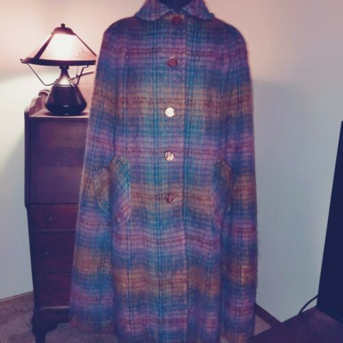 Vtg Scottish made mohair wool cape poncho 1960s