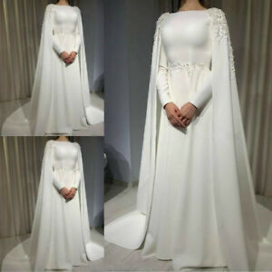 White-Muslim-Wedding-Dress-With-Cape-A-Line-Long-Sleeves-Sweep-Train-Plus-Size