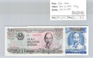 Vietnam 2000 et 5000 Dong 1988 et 1991 pick 107b et 108a