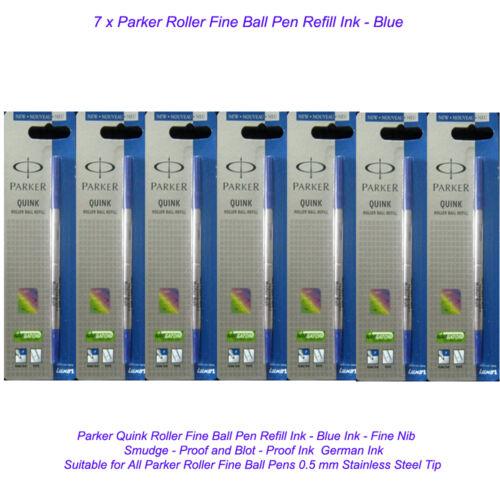 7 Parker Quink Roller Ball Rollerball Pen Blue Refill Fine Nib New Ink US Seller