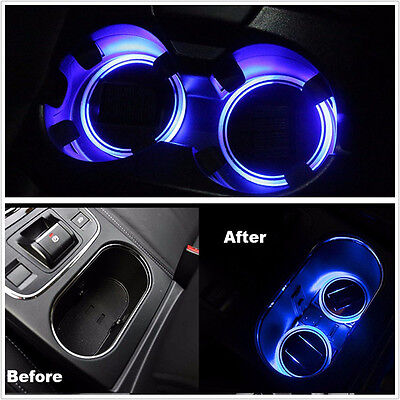 LED Light Cover 2X Solar Cup Holder Bottom Pad Trim Atmosphere Lamp For All car
