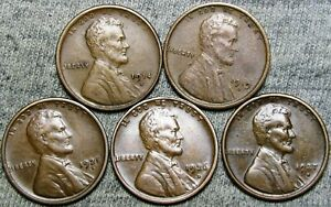1914-S 1919-S 1926-D 1927-S 1925-S Lincoln Cent Wheat Penny -- Nice Lot -- #J746
