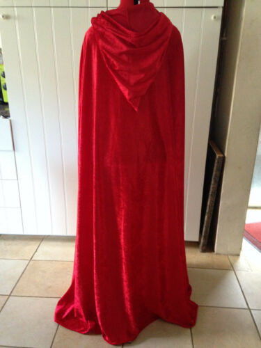 colours avail princess fantasty pointy hooded cloak red crushed velvet c39cv