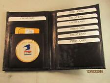 USPS UNITED STATES POSTAL SERVICE BLK LEATHER BIFOLD PASSPORT WALLET CARD HOLDER