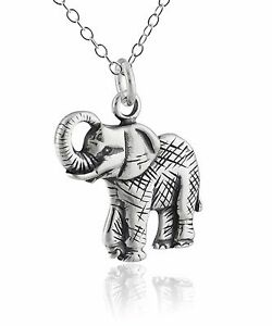 Elephant-Charm-Necklace-925-Sterling-Silver-Elephant-Zoo-Animal-Jewelry-NEW