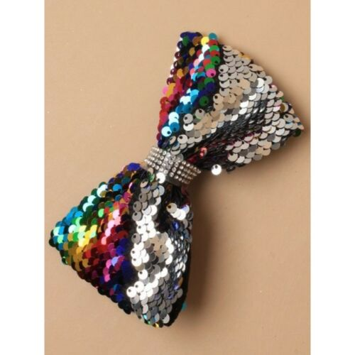 Gorgeous Children Bright Colored 12cm Kids Reversible Sequin Rainbow//Silver Bow