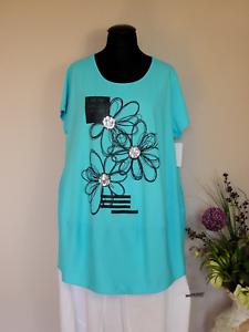 Moda° Size Türkis Ballontunika One Baumwolle Italy ~ Shirt Lagenlook 6ORvwndq