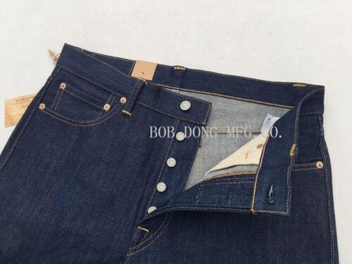 BOB DONG 14.5oz Straight Raw Jeans Vintage Selvage Denim Pants Trouser For Men