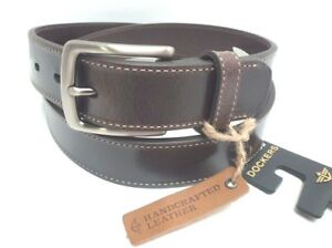 Mens natural leather belt with silver tone bukcle