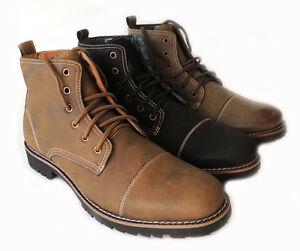 db30822c47a NEW FERRO ALDO MEN ANKLE BOOTS MILITARY COMBAT STYLE LEATHER LINED ...
