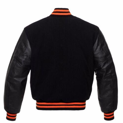 laine Varsity noire College Blousons aviateur de collège de Letterman vraie en xZBzIqZ