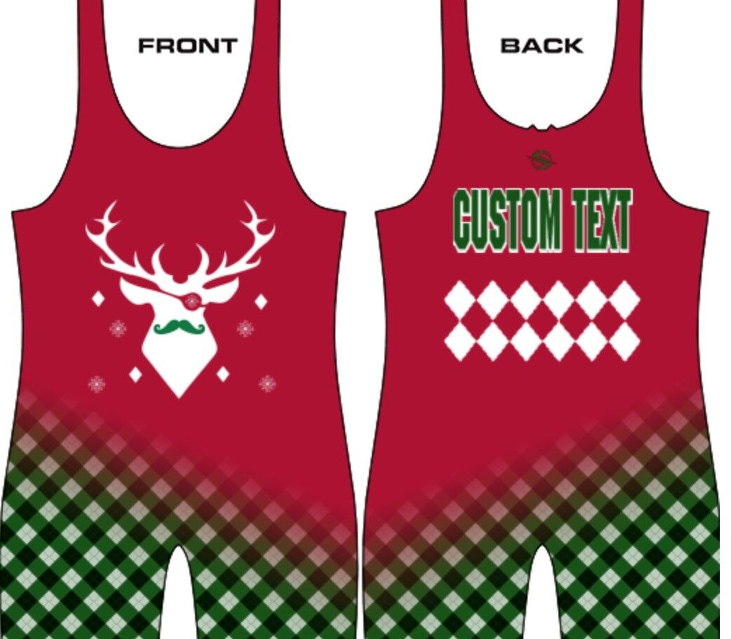Ugly Christmas singlet, deer eyepatch, includes custom text