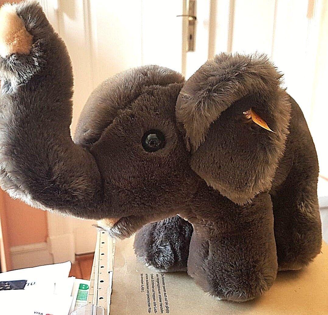 Steiff 085086 - Elefant dunkelbraun 30 cm lang K F S TOP-Zustand Vitrinenexempla