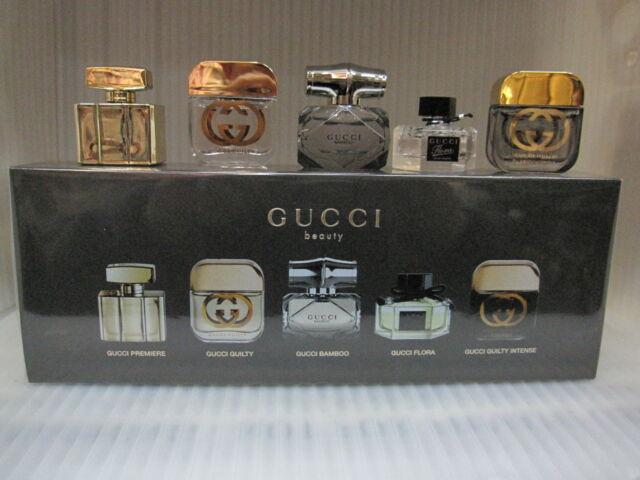 Gucci Beauty Miniature Perfume Gift Set Premiere Guilty Bamboo Flora ... bf8f7ecfdc8