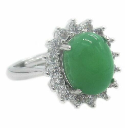 Womens A Grade Green Jade Ring Sterling Silver Genuine Chinese Vintage Stone