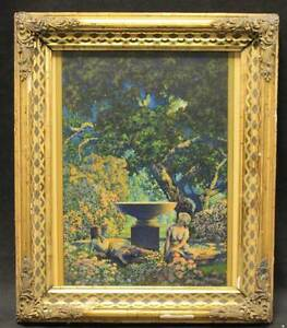 Max-Parrish-Lithograph-Print-Color-034-Reveries-034-1927-Art-Deco-Framed