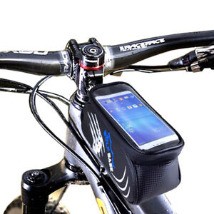 1Cycling Bike Front Bag Waterproof Bicycle Phone Holder Pannier Frame Pouch Q3I4