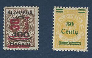 1923-MEMEL-KLAIPEDA-OVERPRINT-STAMPS-SC-N89-30c-400M-1L-BROWN