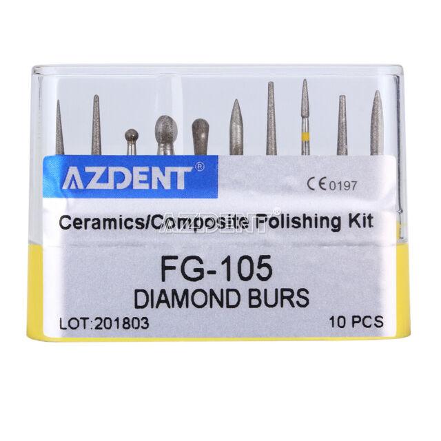 Dental Diamond Burs FG-105 Creamics/Composite Polishing Kit AZDENT 10PCS/Kit