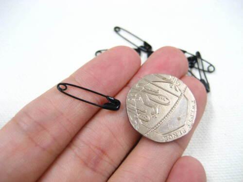 1000 un Negro Pequeño 19mm Imperdible acoplado Etiqueta Etiqueta Accesorio Sujetador