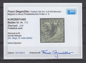 Baden-MiNr-17c-1-Kr-dunkelgrau-Kurzbefund-034-Stegmueller-034-Nr-Stpl-034-109-034