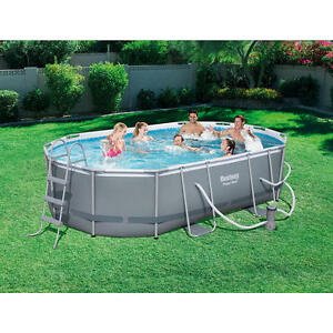 bestway inflatables power steel oval frame pool 16 foot x 10 foot x 42 inch ebay. Black Bedroom Furniture Sets. Home Design Ideas