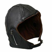Unisex Aviator Genuine Leather Motorcycle Cap Vintage Wwii Pilot Hat Black-jtc