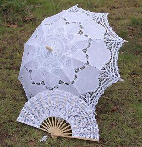 Battenburg-White-Belle-Parasol-Umbrella-amp-Hand-Fan-Wedding-Bridal
