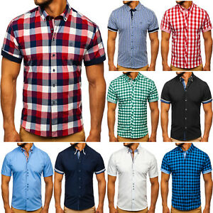 Herrenhemd Freizeithemd Shirt Kurzarmhemd Classic Herren Men Mix BOLF Casual WOW