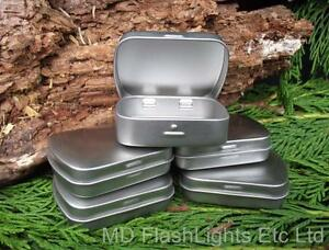 5-x-SILVER-MICRO-HINGED-TINS-IDEAL-FOR-BUSHCRAFT-SURVIVAL-TINDER-KITS