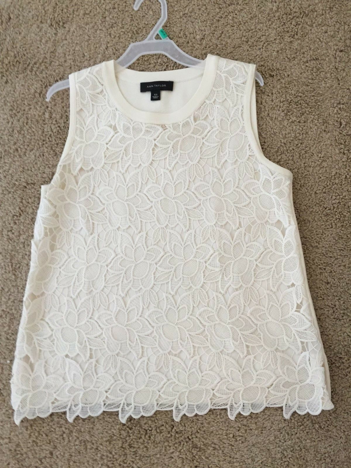 Ann Taylor Lace Overlay Off Weiß Top  Sweater