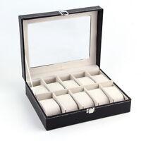 PU Leather 10 Slots Wrist Watch Display Box Storage Holder Organizer Case Box