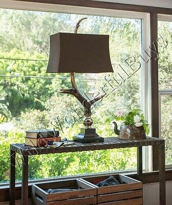"""Antler Horn Table Lamp 34"""" Lampshade Accent  Lodge Home Masculine Rustic Stag"""