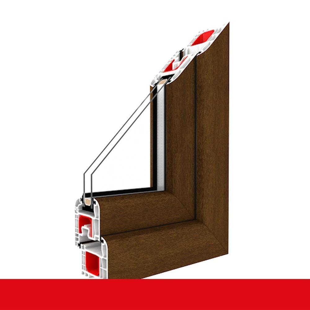 Balkontür Nussbaum 2flügelige Kunststoff Terrassentür Dreh-Kipp mit Stulp