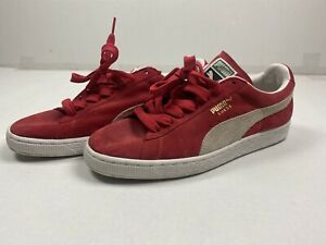 Mens-Puma-Red-Suede-Classic-Clyde-LFS-Sneakers-Size-9-5-Vintage-Style-Fat-Laces