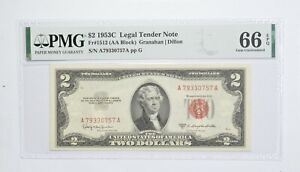 1953-C $2 FR#1512 (AA Block) Red Seal Graded PMG - 66 EPQ Legal Tender *813
