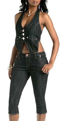 Rocawear Denim Jumpsuit Detachable Vest Open Back Halter Top Capri Set Navy Blue